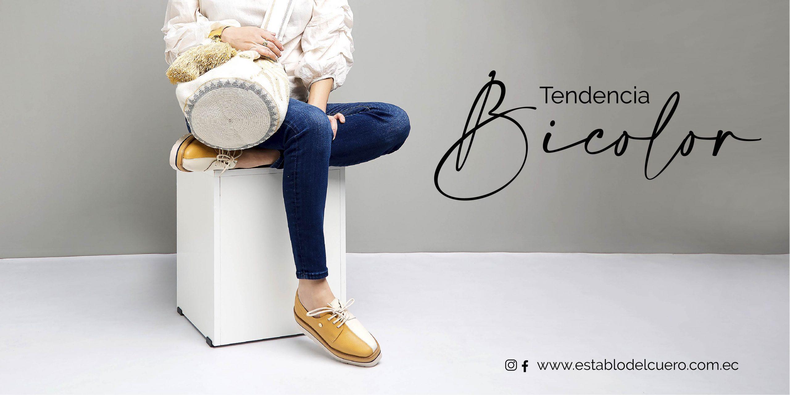 zapatos mujer cuero bicolor